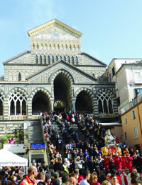Amalfi Festival of Sant' Andrea Religious Procession Down Steps of Cathedral200px