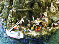 Fountain Christmas Crib in Amalfi with Fishing Boat and Ceramic Shop200PX