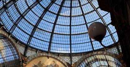 The impressive glass and steel roof of Milan's Galleria