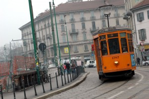 The orange tram, one of the symbols of the city