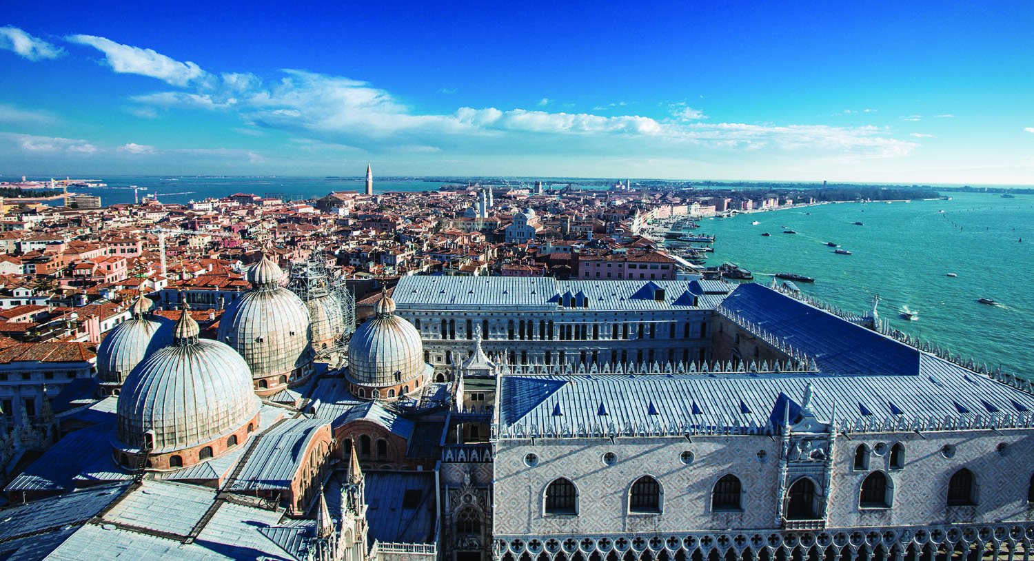 *View from the Campanile  with the  st. mark's basilica and the doge palace