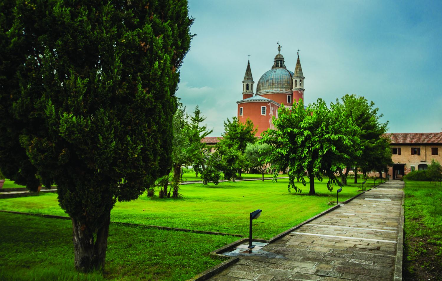 *il Redentore -orchid gardens with the back of Andrea Palladio's church