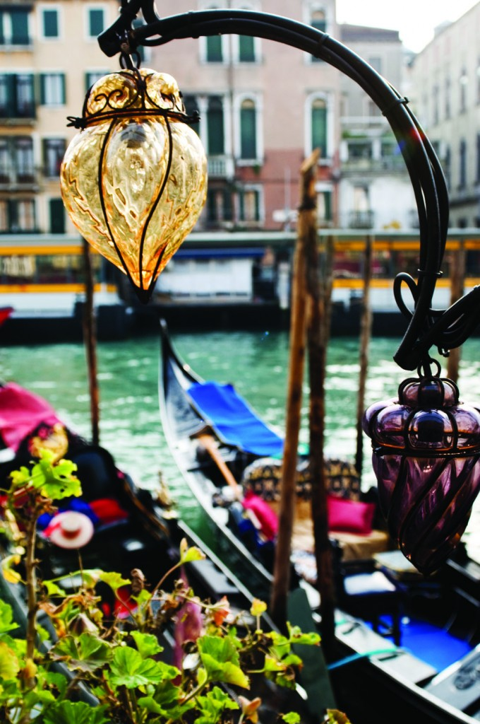 Typical Murano-made glass lamps along the Canal Grande, Venice