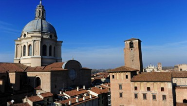 Aerial view of Piazza delle Erbe with the dome of Sant'Andrea