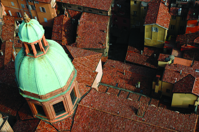 The dome of San Bartolomeo seen from the top of the Asinelli tower, Bologna Emilia Romagna Italy