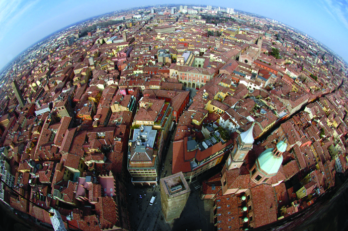 Fish-eye view of Bologna from the top of the Asinelli tower