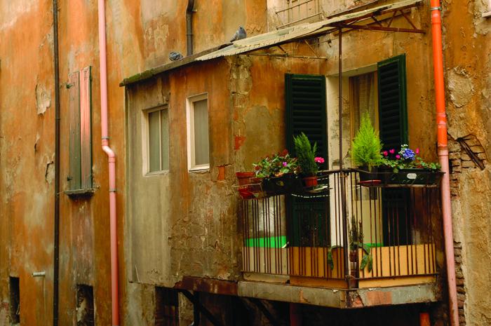 Small balcony, Bologna, Emilia Romagna Italy