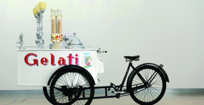 A gelato tricycle from the end of the 1930s for display at the Carpigiani Gelato Museum in Anzola nell'Emilia, near Bologna. Opened in 2012, it is the first musem entirely dedicated to the history, culture and technology of artisan gelato.