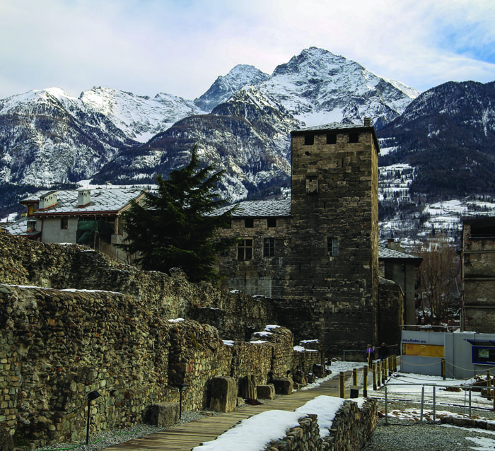 *Roman ruins and soaring mountains in Aosta