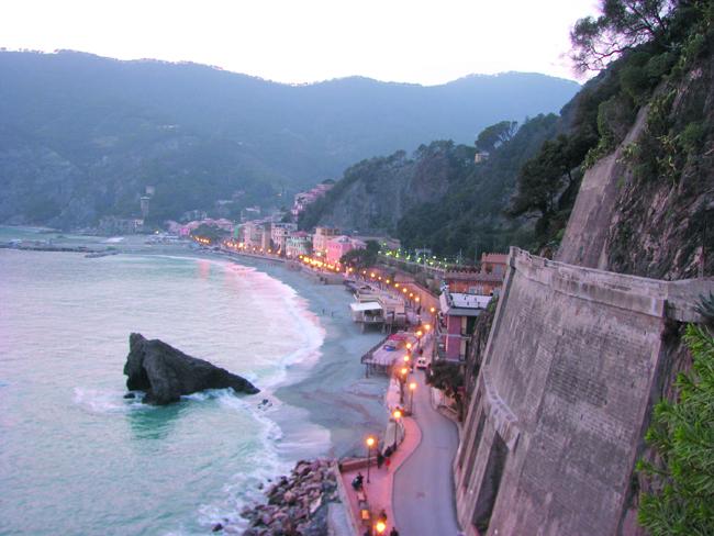 Fegina Bay, the finest beach along the Cinque Terre, nestled below Monterosso