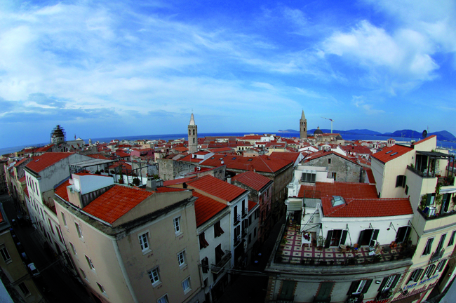 View of Alghero rooftops and skyline.