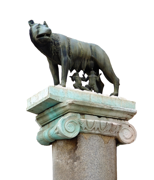 The face of the she-wolf, set in bronze, is focused as she guards the suckling children that feed on her milk, oblivious to the fact that as adults they would go on to found the Eternal City.