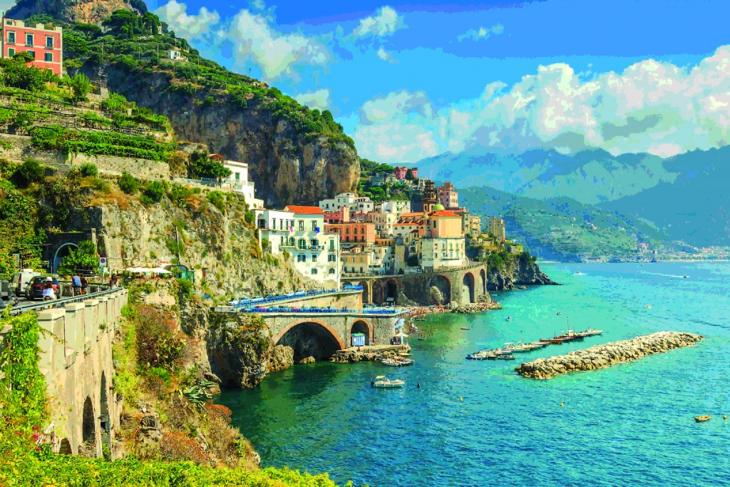 Beautiful bay and famous resort of Amalfi,Campania region,Italy,Europe