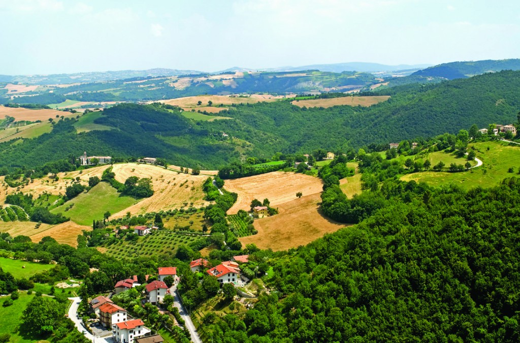Panoramic view from Arcevia (Pesaro Urbino, Marche, Italy) at summer