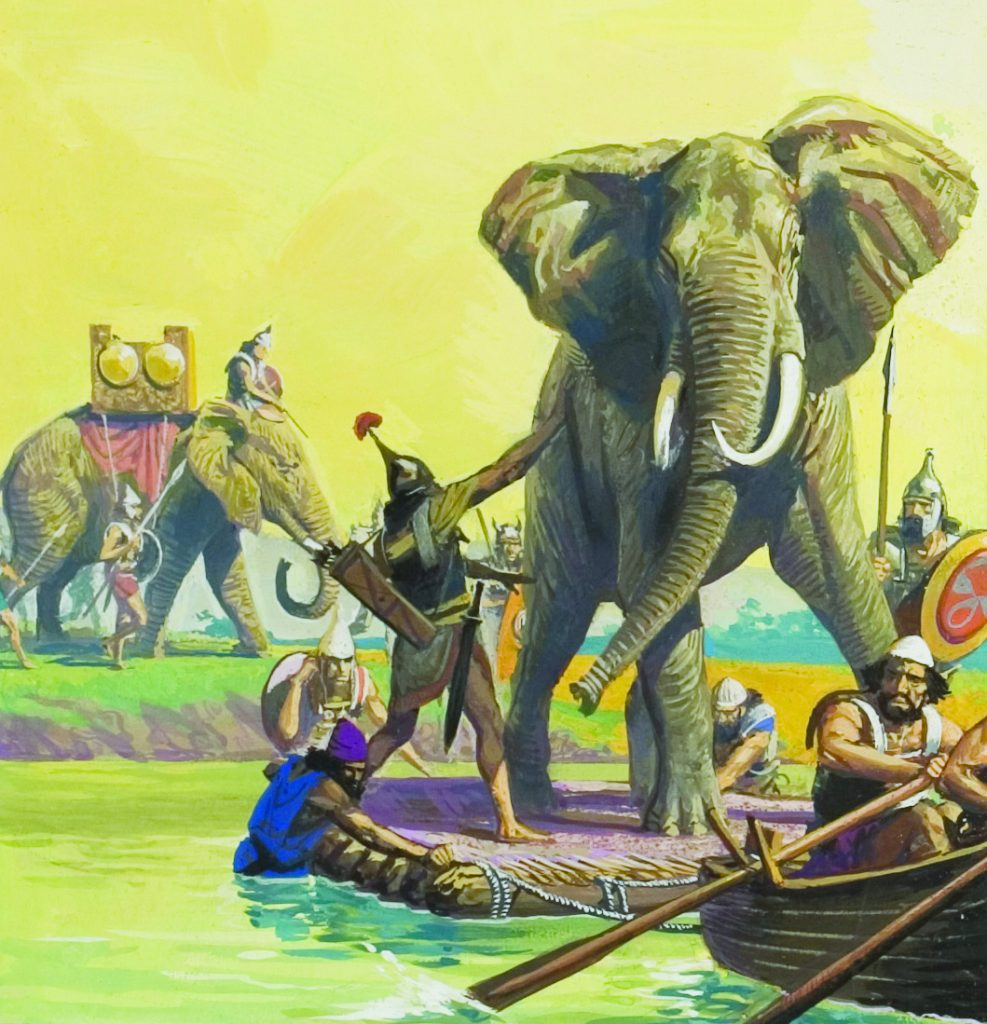 Hannibal's elephants.  In order to make the elephants think they were still on dry land while crossing the Rhone, Hannibal had their rafts covered with earth.  The trick worked.