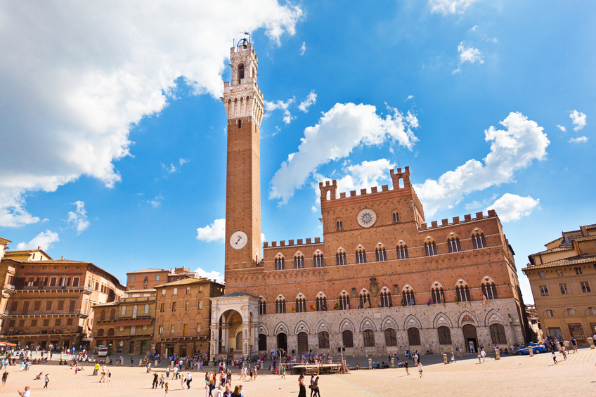 The Piazza del Campo, in Siena, Italy