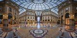 Milan, Italy - January 13, 2015: Famous Bull Mosaic in Galleria Vittorio Emanuele II in Milan. It's one of the world's oldest shopping malls, designed and built by Giuseppe Mengoni between 1865 and 1877.