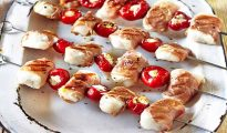 Cod, prosciutto and pepper kebabs