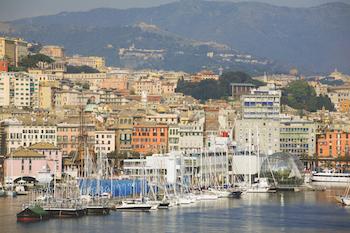 view to genoa, liguria, italy