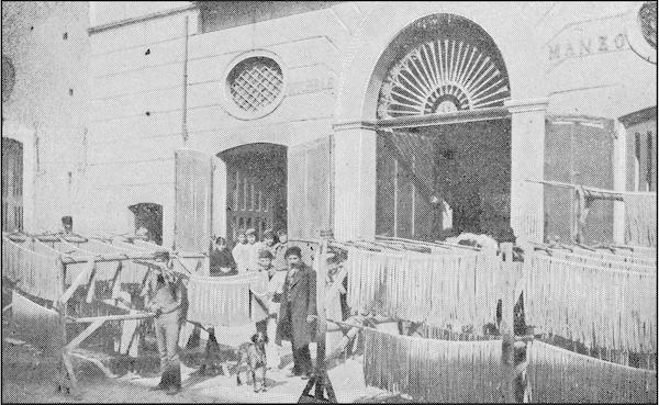 antique picture Italy: Naples, Pasta Factory