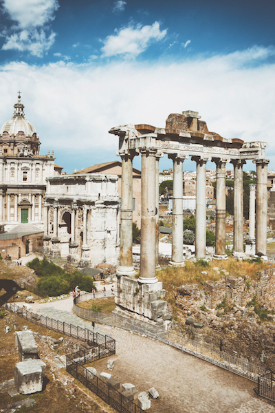Santi Luca e Martina, Arch of Septimius Severus and the Temple of Saturn at the Roman Forum, Rome, Italy