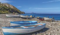 Fishing boats on Porticello Beach - Lipari Island, Aeolian Islands, Sicily, Italy