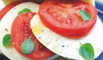 Mozzarella tomato and basil salad or insulate caprese