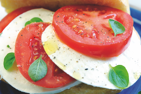 Mozzarella tomato and basil salad or insulate caprese