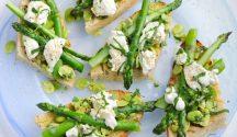 Asparagus, Broad Bean Mint and Mozzarella Bruschetta
