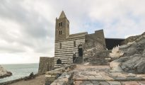The church of Saint Peter on the promontory if Porto Venere in Liguria, Italy