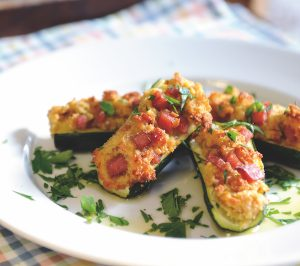 Cheese-filled courgettes