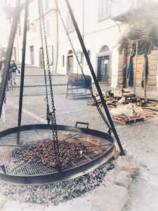 Brazier cooking chestnuts, Viterbo Italy