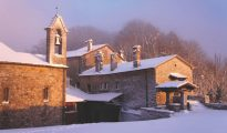 Sanctuary of Verna in snow, Italy