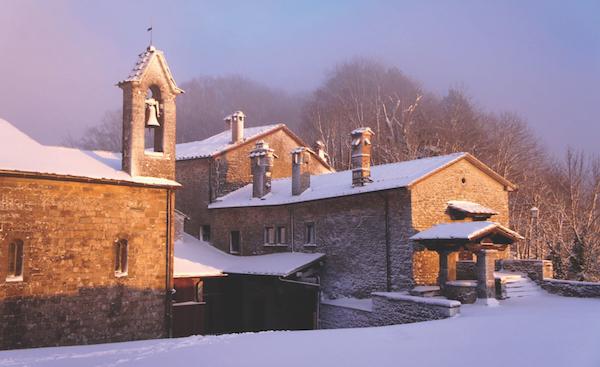 Sanctuary of Verna in snow, Italy