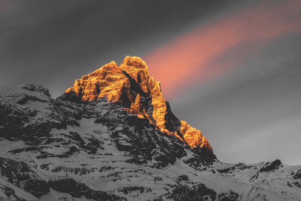 Sunset over Monte Cervino, Italy