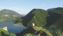 View across Lake Turano from Antuni, Italy