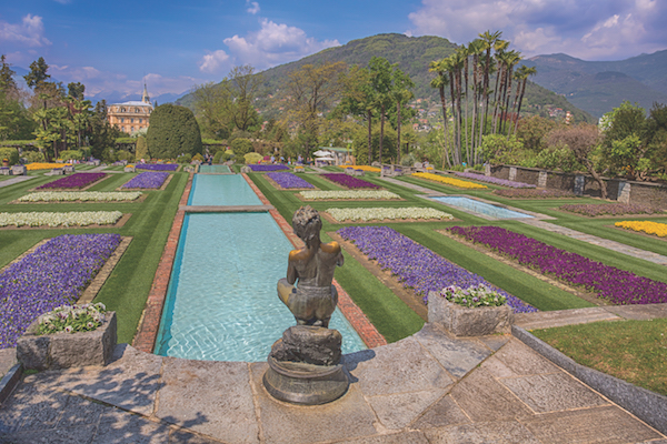 PALLANZA, ITALY APRIL, 25, 2018 - Terraced gardens in the botanical garden of Villa Taranto in Pallanza, Verbania, Italy.