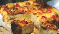Savoury bread cake with cherry tomatoes