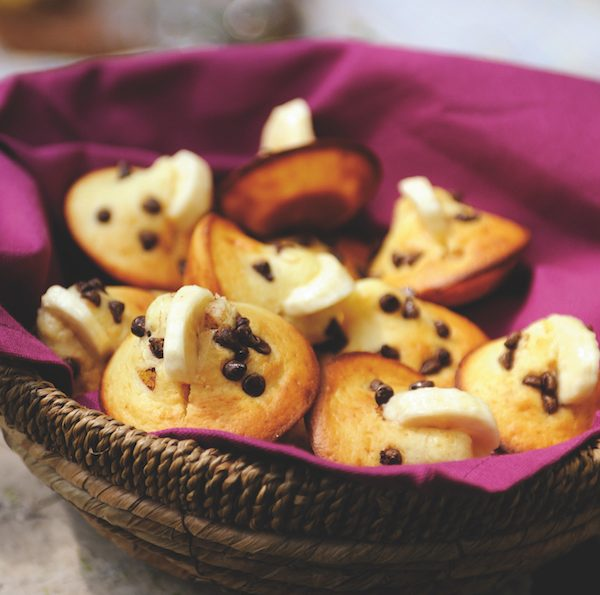 Chocolate chip and banana mini yoghurt muffins for picnic