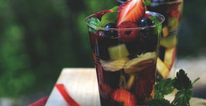 Mixed fruit salad with basil syrup