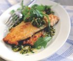 Trout fillets with green olive and caper pesto
